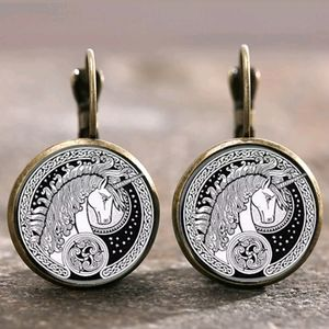 New Magical Unicorn Glass Cabochon 18MM Earrings